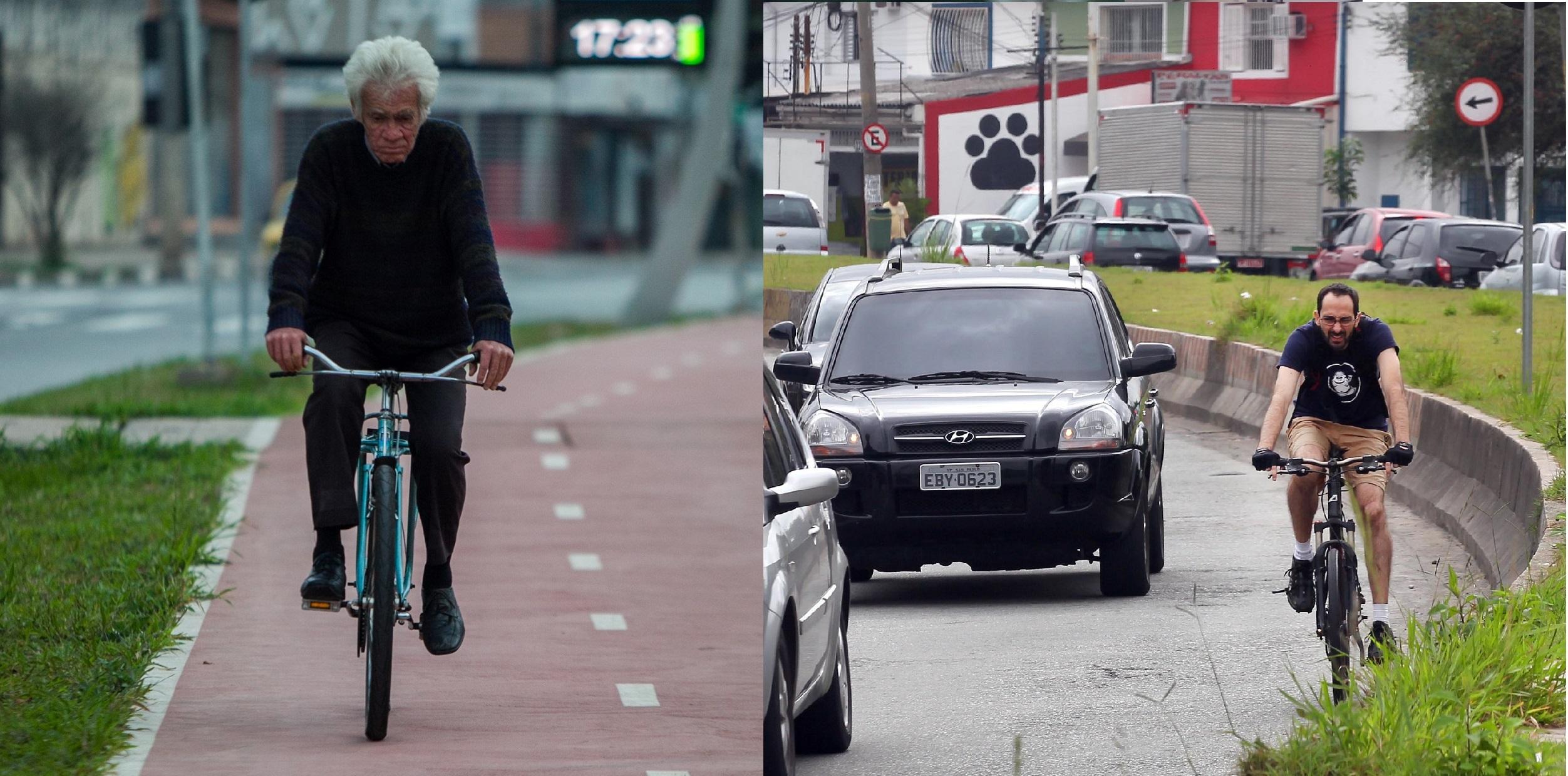 À esq., homem pedala pela ciclovia de canteiro central implantada em 2013 na av. Eliseu de Almeida (foto Bruno Poletti/Folhapress). Antes, ciclistas disputavam espaço com os carros (foto Juca Varella/Folhapress)