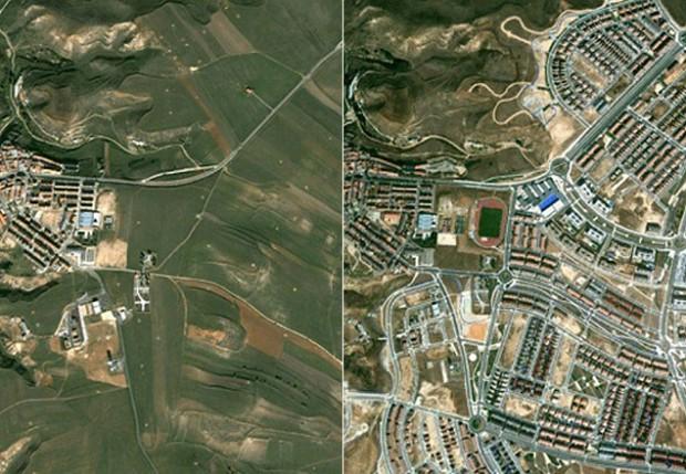Da esquerda para a direita, duas fotos Paracuellos del Jarama (Madrid) em 2002 e 2012