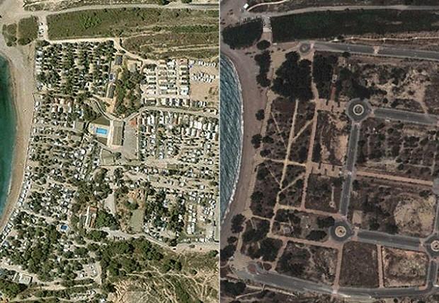 Da esquerda para a dirieta, antes (2003) e depois (2013) da mesma área em Villajoyosa (Alicante)